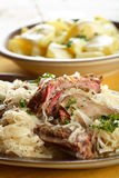 Tasty goulash with sauerkraut Stock Photos