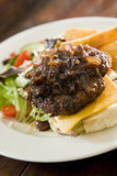 Tasty Gourmet Cheese Burger. Grilled Beef patty, topped with caramelised onions, on slice of rich cheddar cheese, with fresh Greek salad, fried potato chips Stock Images