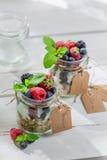 Tasty granola with yogurt and fruits Stock Image