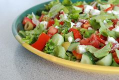 Tasty Greek Salad with feta Stock Photo