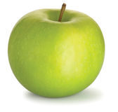 Tasty green granny smith apple on a white backgrou Stock Images