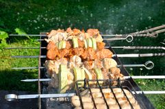Tasty grill kebab on a charcoal with onion Stock Photos