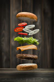 Tasty grilled beef Burger. Food Floating, food flying style stock photography
