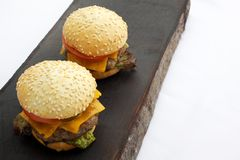 Tasty grilled delicious burger with lettuce, cheese, onion and tomato on a rustic wooden plank. Tasty grilled delicious burger with lettuce, cheese, onion and Stock Image