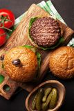 Tasty grilled home made burgers royalty free stock photo