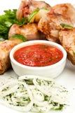 Tasty grilled meat, shish kebab Stock Images