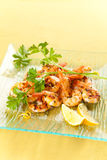 Tasty grilled prawn salad Stock Images