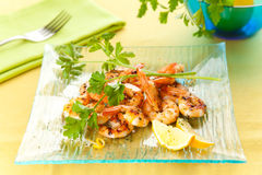 Tasty grilled prawn salad Stock Photos