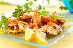 Tasty grilled prawn salad Royalty Free Stock Photography