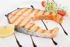 Tasty grilled salmon steak Stock Image