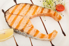 Tasty grilled salmon steak Royalty Free Stock Images