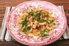 Tasty grilled shelled pink shrimps Stock Image