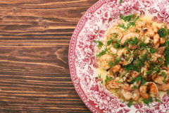 Tasty grilled shelled pink shrimps Royalty Free Stock Photos