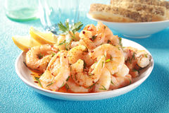 Tasty grilled shelled pink shrimps or prawns Stock Photography