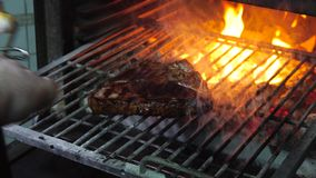 Tasty grilled steak in oven