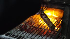 Tasty grilled steak in oven.  stock footage