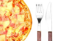 Tasty Ham and Pineapple Pizza. Stock Images