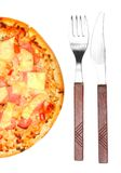 Tasty Ham and Pineapple Pizza. Royalty Free Stock Photography