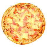 Tasty Ham and Pineapple Pizza. Stock Photo