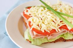 Tasty ham, tomato and cheese sandwich Stock Photo