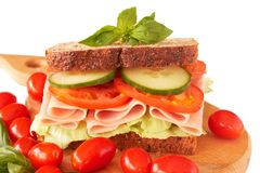 Tasty ham, tomato and cucumber sandwich Stock Photos