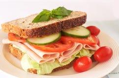 Tasty ham, tomato and cucumber sandwich. Tasty smoked ham, tomato and cucumber sandwich on wholewheat bread Stock Photography