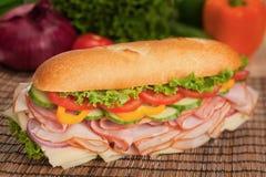 Tasty ham & turkey submarine sandwich. Large sub with fresh veggies, cheese, turkey and ham Royalty Free Stock Photos