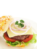 Tasty hamburger with beef patty and tomato Stock Photography