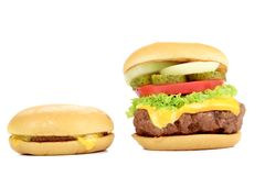 Tasty hamburger and cheeseburger. Royalty Free Stock Photos