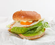 Tasty hamburger with egg on the white paper. Stock Images