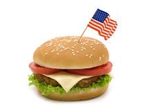 Tasty hamburger with flag Stock Photo