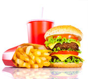 Tasty hamburger and french fries Stock Photography