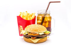 Tasty hamburger, French fries and cola isolated on white background. Tasty hamburger, French fries and cola isolated on white background, Fast food Royalty Free Stock Photo