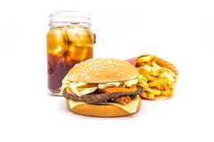 Tasty hamburger, French fries and cola isolated on white background. Royalty Free Stock Photos