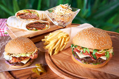 Tasty hamburger and french fries Royalty Free Stock Photography