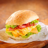 Tasty hamburger with ham, cheese and lettuce Royalty Free Stock Photos