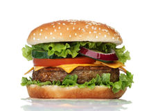 Tasty hamburger isolated on white Royalty Free Stock Image