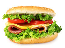Tasty hamburger with vegetables and ham Royalty Free Stock Images