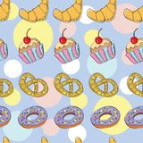 Tasty hand drawn seamless pattern Stock Photography