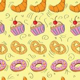 Tasty hand drawn seamless pattern Royalty Free Stock Image