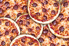 Tasty Hand Made Tomatoes and Pepperoni Pizza Royalty Free Stock Images