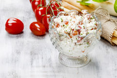 Tasty and healthy breakfast: bowl of cottage and tomato salad Stock Photography