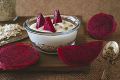 Muesli with yogurt and dragon fruit royalty free stock photos