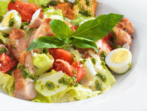 Tasty healthy Caesar salad with sweet basil and lettuce. On a round plate Stock Photography