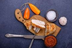 Tasty healthy dinner chicken and sweet pepper Royalty Free Stock Image
