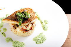 Tasty healthy fish fillet with potato puree Royalty Free Stock Photos