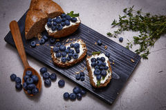 Tasty healthy food bread cream cheese blueberry juicy organic Stock Photo