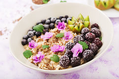 Tasty and healthy oatmeal porridge with fruit, berry and flax seeds. Healthy breakfast. stock image