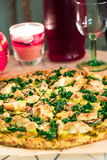 Tasty Healthy Paleo Pizza from Almond Flour with Bottle of Wine, Romantic Evening Royalty Free Stock Images