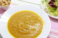 Tasty and healthy Pumpkin Puree.  Pureed vegetables.  Stock Photos